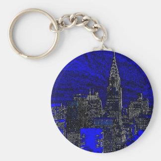 Blue Pop Art New York City Basic Round Button Key Ring