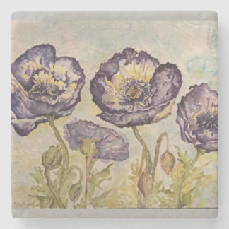 Blue Poppies Floral Watercolor Art Stone Coaster