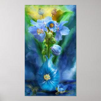 Blue Poppies In Poppy Vase Art Poster/Print Poster