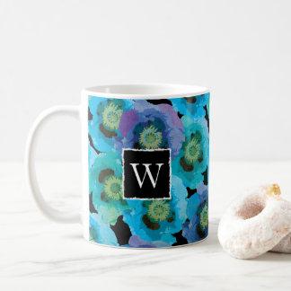 Blue Poppies Monogram Coffee Mug
