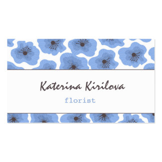 Blue poppies pack of standard business cards