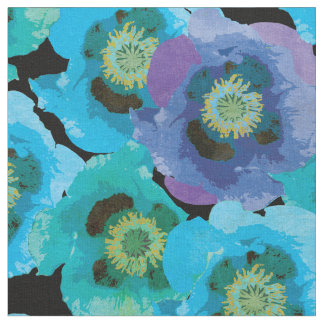 Blue Poppies Pattern Fabric