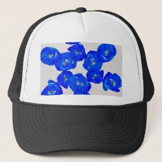 blue poppies trucker hat