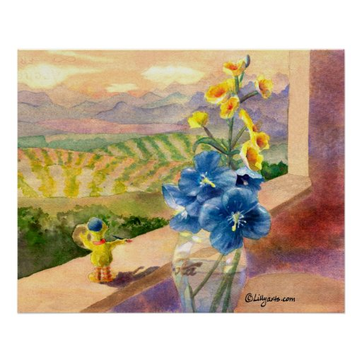 Blue Poppies Watercolor Poster Print