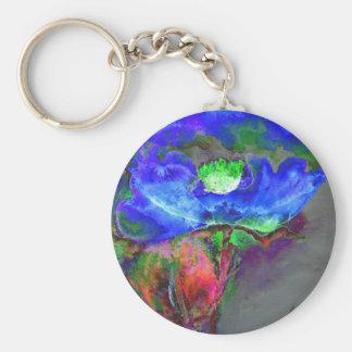 Blue Poppy Basic Round Button Key Ring