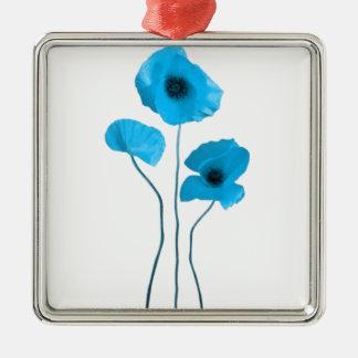 Blue poppy - blue poppy Silver-Colored square decoration