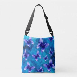 Blue Poppy Butterflies On Blue, Crossbody Bag