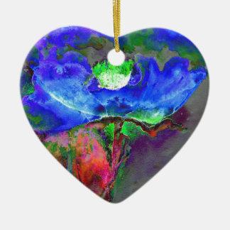 Blue Poppy Ceramic Heart Decoration