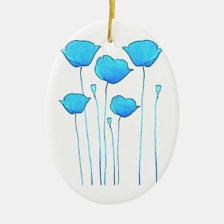 blue poppy ceramic oval decoration