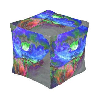 Blue Poppy Cube Pouffe
