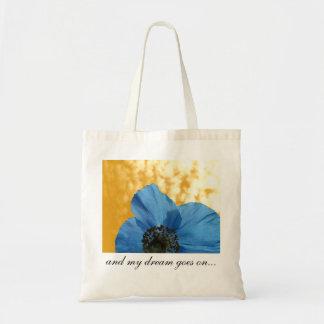 BLUE POPPY flower dream golden Budget Tote Bag
