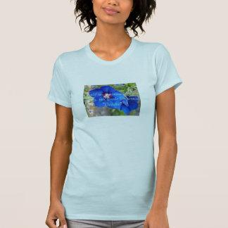 Blue poppy flower inspiring quote ladies t shirt