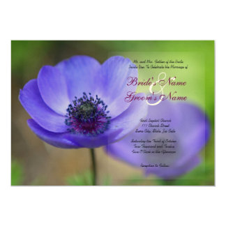 Blue Poppy Flowers 5x7 Paper Invitation Card