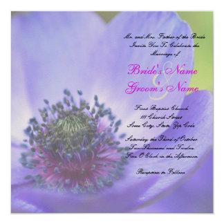 Blue Poppy Flowers 5.25x5.25 Square Paper Invitation Card