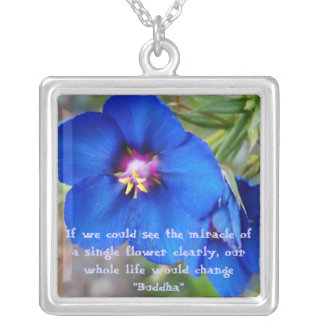 Blue Poppy inspiring quote necklace