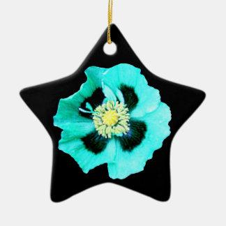 Blue Poppy ornament star black