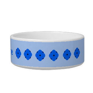 Blue poppy personalised cat food bowls
