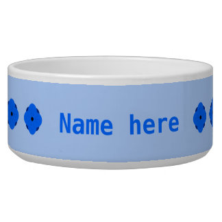 Blue poppy personalised dog water bowls