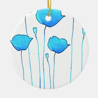 blue poppy round ceramic decoration