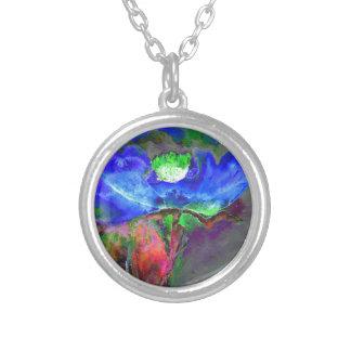 Blue Poppy Round Pendant Necklace