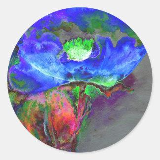 Blue Poppy Round Sticker
