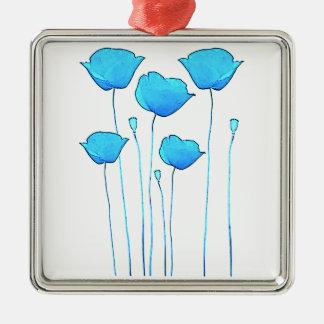 blue poppy Silver-Colored square decoration