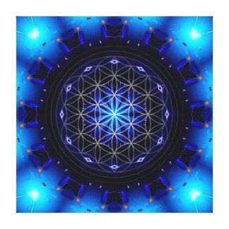 blue power mandala with flower OF life Canvas Print