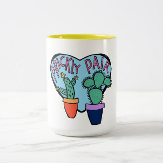 Blue Prickly Pair Cacti Illustrated Typography Two-Tone Coffee Mug