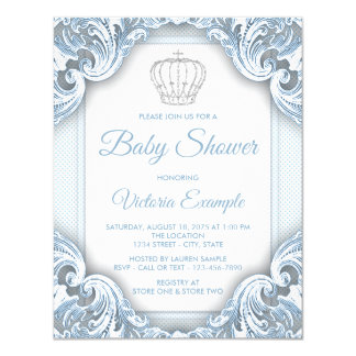 Blue Prince Baby Shower Invitations