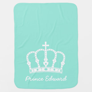 Blue Prince Crown with Jewels for Baby Boys Receiving Blanket