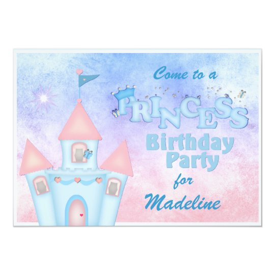Blue Princess Birthday Party Invitation