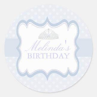 Blue Princess Tiara Girls Birthday Sticker