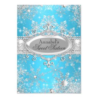 Blue Princess Winter Wonderland Sweet 16 Invite