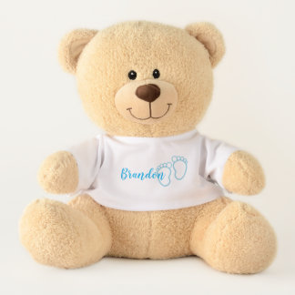 Blue Prints Footprint Little Baby Feet Name Teddy Bear