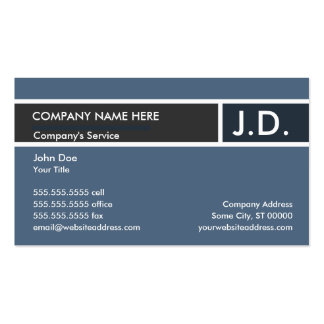 blue professional : initials pack of standard business cards