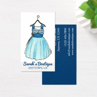 Blue Prom Party Dress Shop Fashion Boutique Style Business Card