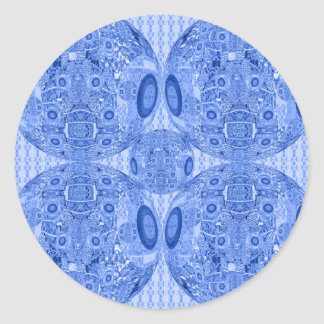 Blue Psychedelic Spheres Classic Round Sticker