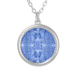Blue Psychedelic Spheres Silver Plated Necklace