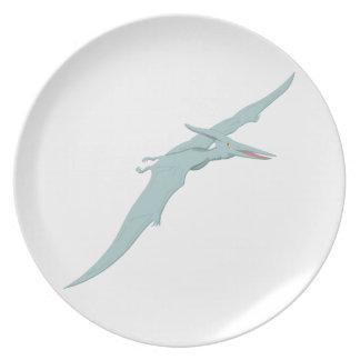 Blue Pterodactyl Dinosaur 4 Plate