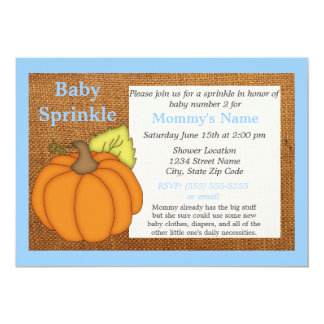 Blue Pumpkin Fall Baby Sprinkle Invitation