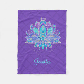 Blue , Puple Teal Lotus with custom name Fleece Blanket