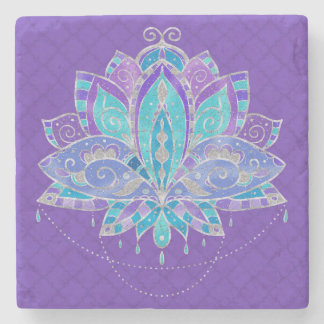 Blue , Puple Teal Lotus with Silver Accents Stone Coaster