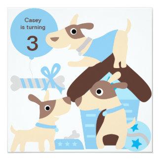 Blue Puppy Dog Custom Birthday Invitations