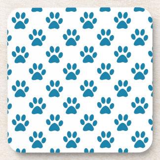 Blue puppy paw prints pattern drink coasters