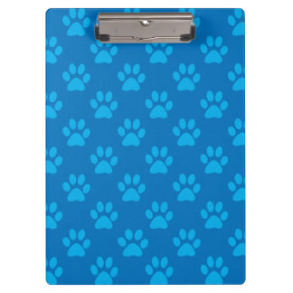 Blue puppy paws pattern clipboard