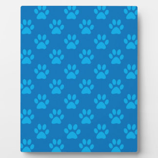 Blue puppy paws pattern plaque