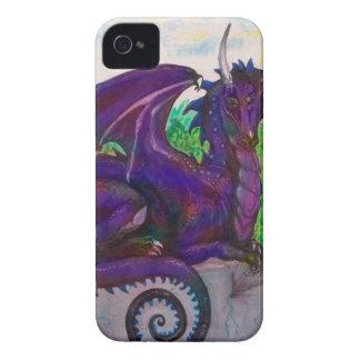 Blue Purp Dragon Dragoness Crimson Fantasy Monster iPhone 4 Cover