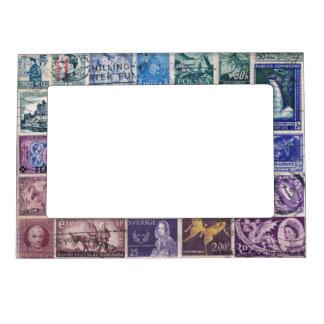 Blue-Purple 1 Postage Stamp Collage Picture Frame Frame Magnet