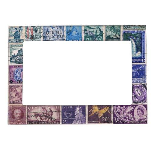 Blue-Purple 1 Postage Stamp Collage, Picture Frame Frame Magnet