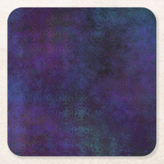 Blue & Purple Abstract, Grungy Digital Art Square Paper Coaster